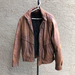 Jindo Furs Leather Bomber Jacket w/ Fur Vest M